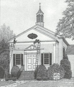 Exterior Painting of Church Pen and Ink